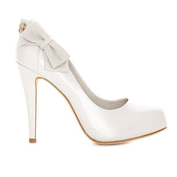 Elegante Damenschuhe Brautschuhe weiß Echtleder Modell B/123 (37)