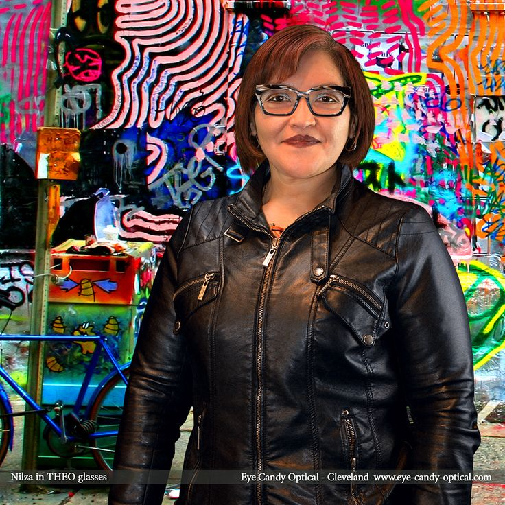 Nilza is a cool graffiti artist wearing her new Belgian designer glasses by Theo.  Eye Candy -  Has all the edgy looks and bright colors of the finest European Eyewear Fashion! Eye Candy Optical Cleveland - The Best Glasses Store! (440) 250-9191 - Book an Eye Exam Online or Over the Phone www.eye-candy-optical.com