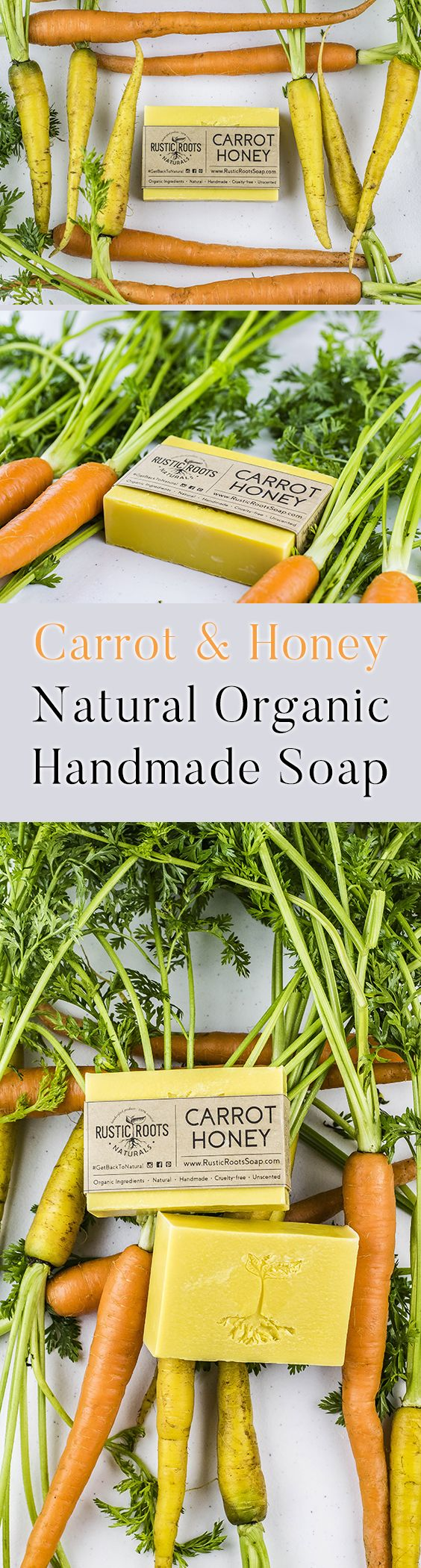 Carrot & Honey is a gentle, unscented soap that lathers well. Carrots are juiced just before soap making to preserve all nutrients. Excellent choice for those with sensitive skin or who prefer a unscented soap. Around 1/2 carrot (juice) is used for making every bar.