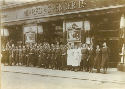 Here are the Middlesbrough Marks and Spencers sales assistants lined up for the photographer outside the Linthorpe Road store sometime in the 1930s.