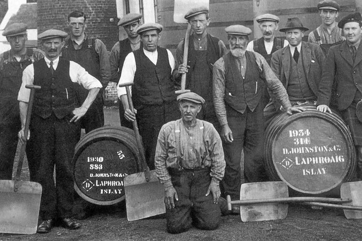 An image from Laphroaig's archives of the distillery team in 1934. Laphroaig Islay whisky celebrates its 200th anniversary this year.