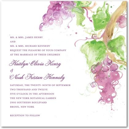 Artistic vineyard wedding invitation. Beautiful design for purple & wine wedding themes.