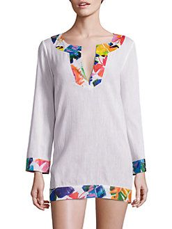 MILLY - Crinkle Cotton Combo Tunic