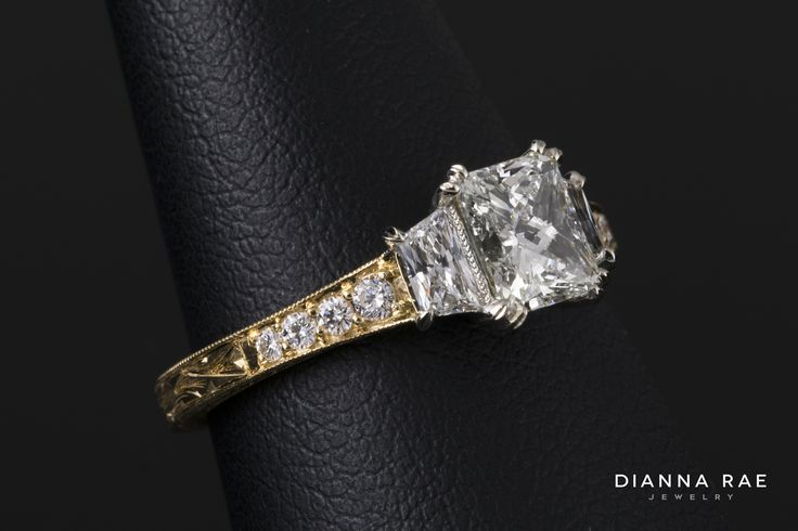 Ornate Vintage Inspired Engraved Two-tone Diamond Engagement Ring with 2 Trapezoid Diamonds on either side
