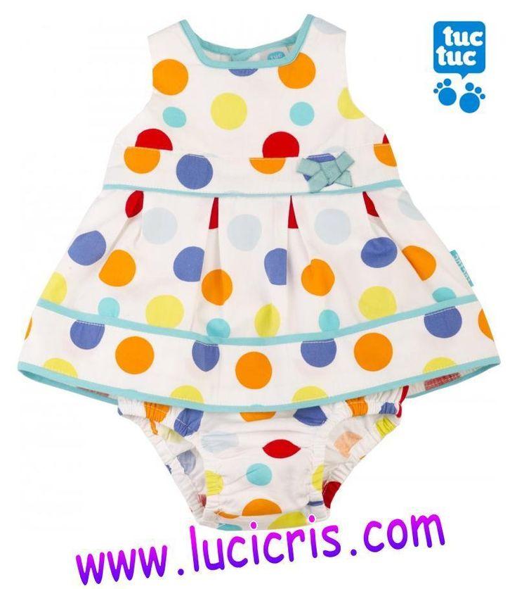 Vestido TUC TUC popelin y Braguita Niña Bebé Topos