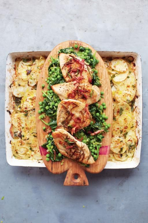ven grill on high • Food processor (fine slicer) • Medium lidded pan, high heat • Large high-sided roasting tray, high heat • Large frying pan, medium-high heat
