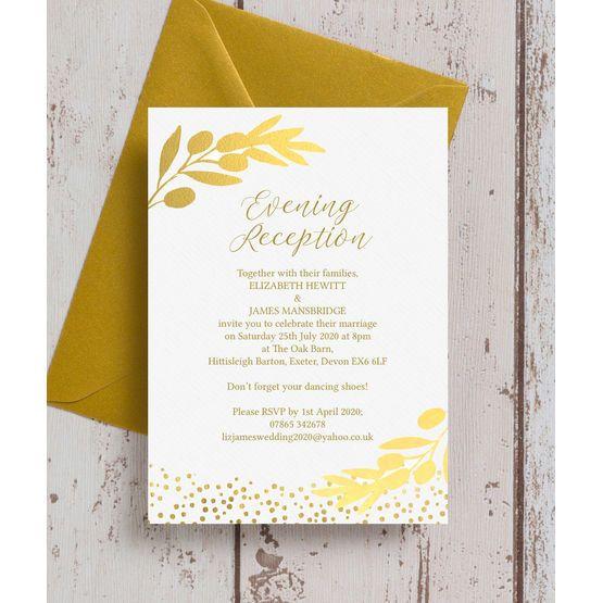 Afternoon Wedding Reception Ideas: Golden Olive Wreath Evening Reception Invitation In 2019