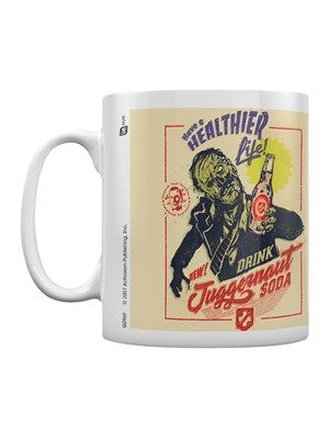 """""""When you need some help to get by, something to make you feel strong. Reach for Juggernog tonight, sugar seduction delight!"""" Or is it Juggernaut Soda? Bring one of the epic Call Of Duty perks into your home with this retro-looking mug! Have a healthier life, zombies, and drink some soda (or tea, your choice...) Official merchandise."""