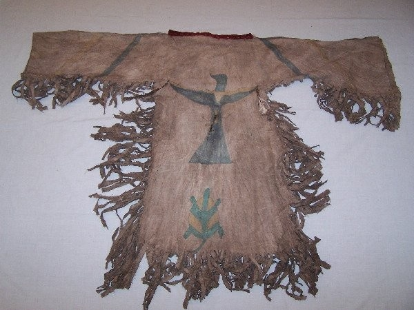 If we wear the sacred garments of the we have a Ghost Dance Shirt!....Messiah (Wovoka) - Ghost Shirts painted with magic symbols - no harm will come to us. Not even the bullets of the Bluecoats'  guns will penetrate these Ghost Shirts. - Kicking Bear to Sitting BullIndian National, Ghosts Shirts, American Indian, Shirts Messiah Wovoka, Dance Shirts Messiah, 600 450 Pixel, Dresses Ghosts Dancers, Kicks Bears, 3455579 1 L Jpg 600 450