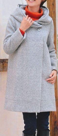 Mujeres y alfileres: Molde de saco con capucha. Free pattern. Coat size S, in spanish.