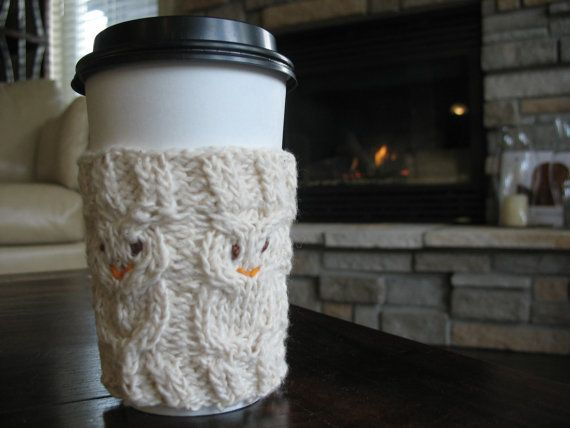 Owl Coffee Cup Cozy on Etsy, $10.00 CAD