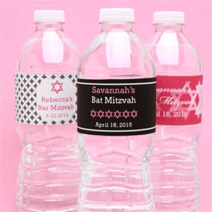 Bat Mitzvah Personalized Water Bottle Label - 12 pcs - Bar Mitzvah & Bat Mitzvah Party Favors - Other Occasions - Wedding Favors & Party Supplies - Favors and Flowers
