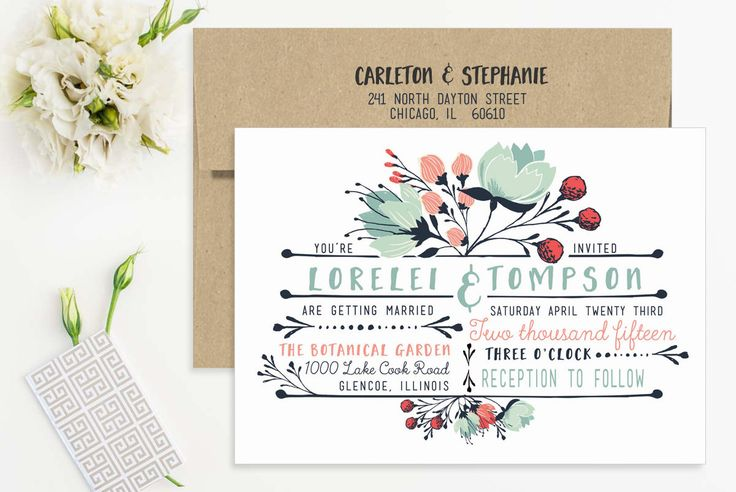 Boho Floral Country Wedding Invitation Set. Bohemian Wedding Invitations, Typography Mint Pink Red - Printable or Printed - FREE SHIPPING by LetterLoftPrints on Etsy https://www.etsy.com/listing/242790308/boho-floral-country-wedding-invitation