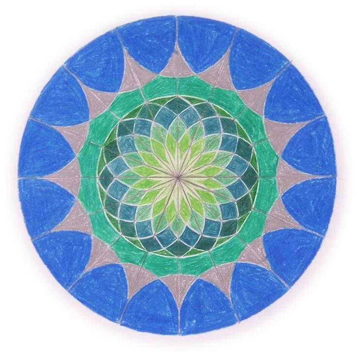 Age 12 ~ Geometric Drawing ~ 16 Division Circle ~ main lesson book