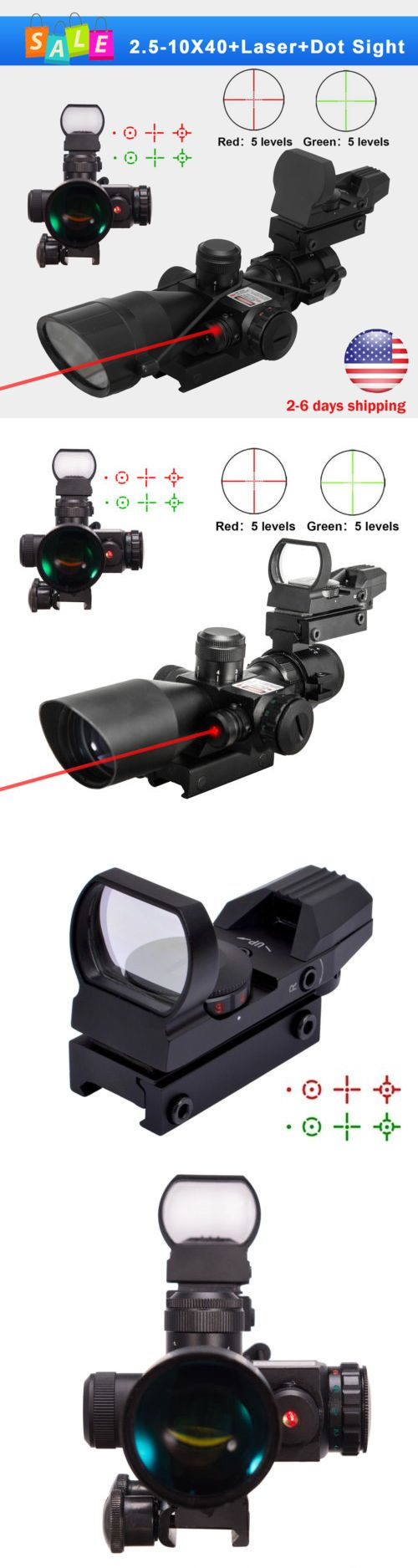 Red Dot and Laser Scopes 66827: 2.5-10X40 Tactical Rifle Scope W Red Laser Mini Reflex 3 Moa Green Red Dot Sight -> BUY IT NOW ONLY: $53.89 on eBay!