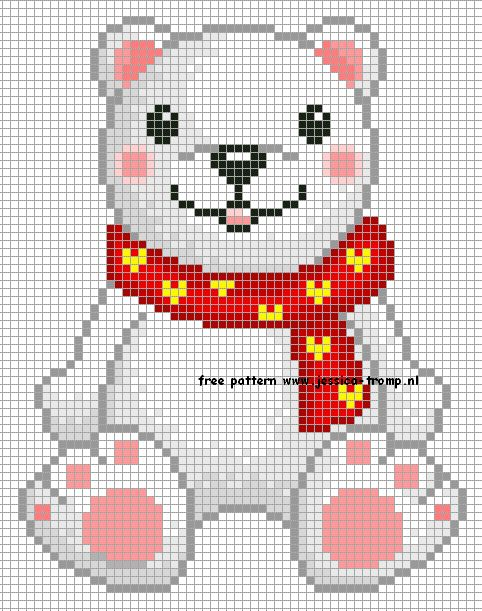 Bear cross stitch for kids room