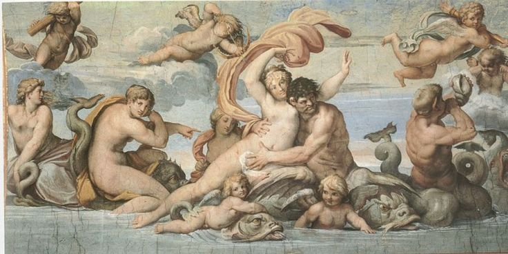 "<span class=""caption_text"">Agostino Carracci, Glaucus and Scylla (a. 1597) Rome Ceiling of Palazzo Farnese Gallery</span>"