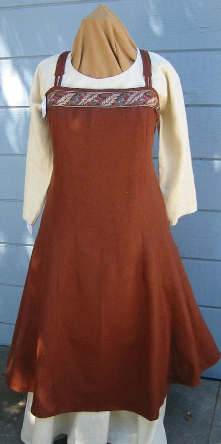 """Viking Apron Dress    This dress is based on the """"Greenland Dress"""" It has one gore in the center back and 1 gore on each side of the center front. This dress is shown with a linen underdress which is sold separately. Wool."""