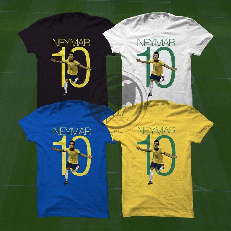 Neymar 10 Brazil T-Shirt Brazil Soccer Player  #soccer #wallart #decor #canvas #art #poster #graphicdesign #soccerart #football #futbol #etsy #g17 #graphics17