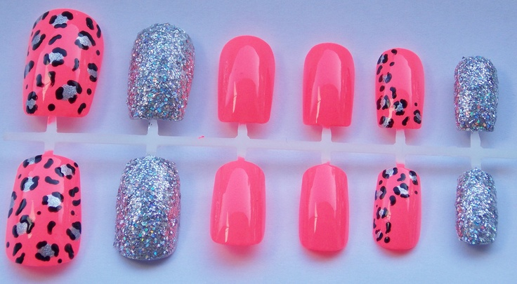 Neon Coral and Silver Glitter Cheetah or Leopard Fake Nails - False, Artificial, Acrylic, Press-On. $12.00, via Etsy.