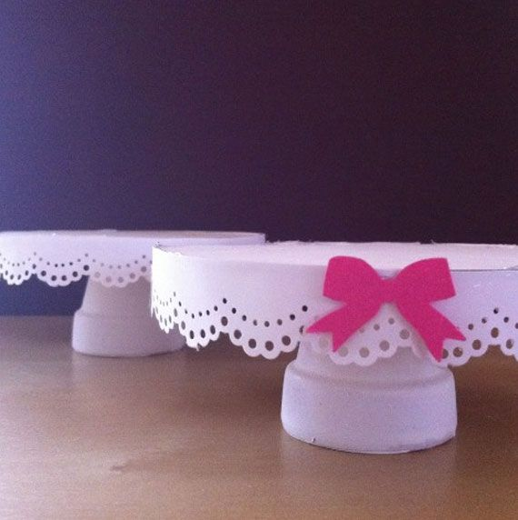 DIY doily lace cupcake stands....gonna do a cake stand instead