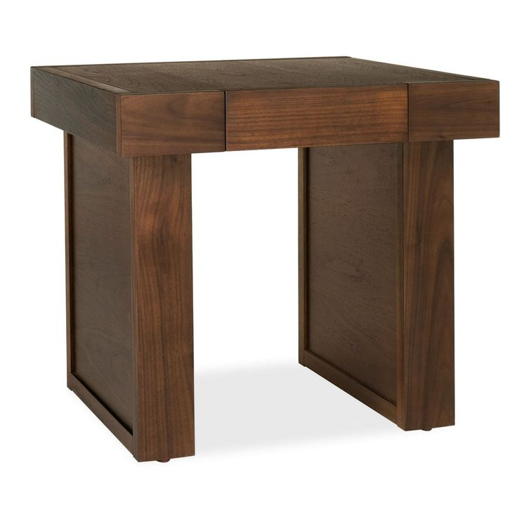 This 'Akita' side table has a contemporary, sleek design, while the dark walnut finish brings a warm tone to homes.