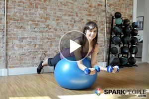 8-Minute Upper Body Sculpt. Use a set of dumbbells and an exercise ball for some unique arm, back and shoulder exercises that build strength and muscle tone! | via @SparkPeople #fitness #video