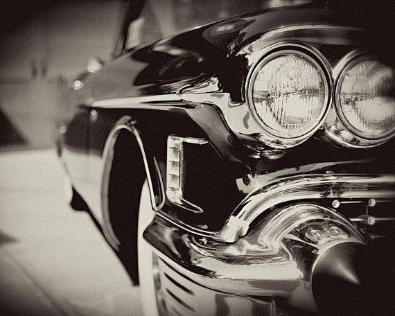 Classic Car Photograph - Cadillac Picture - Black and White Photography - Retro Mad Men, Cadillac Photo, Art for Men, 1950s Black Car.