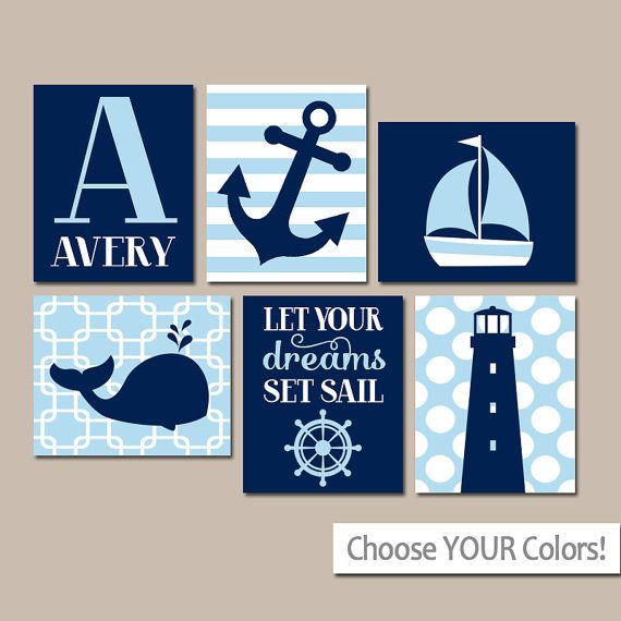 BOY Nautical Wall Art Boy Nautical Nursery Baby Boy by TRMdesign