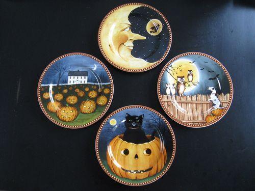 Pumpkin Hollow Set of 4 Halloween Plates David Carter Brown Sakura Oneida NIB | eBay & 36 best DAVID CARTER BROWN COLLECTION images on Pinterest | David ...