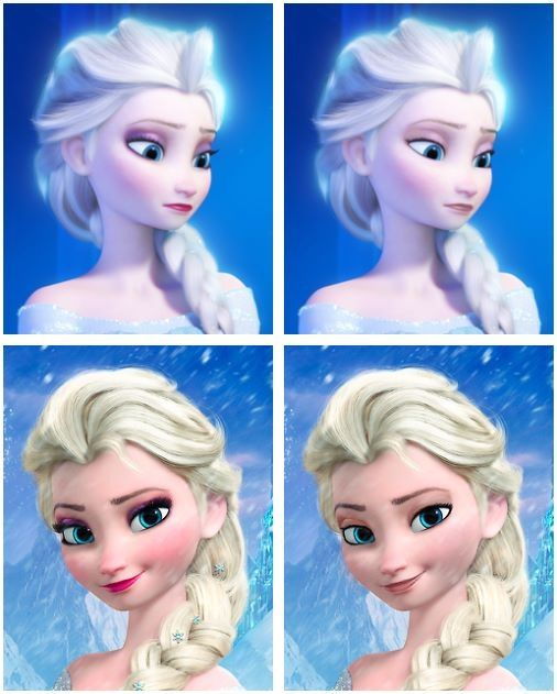 Elsa with and without makeup. She's still beautiful. :)