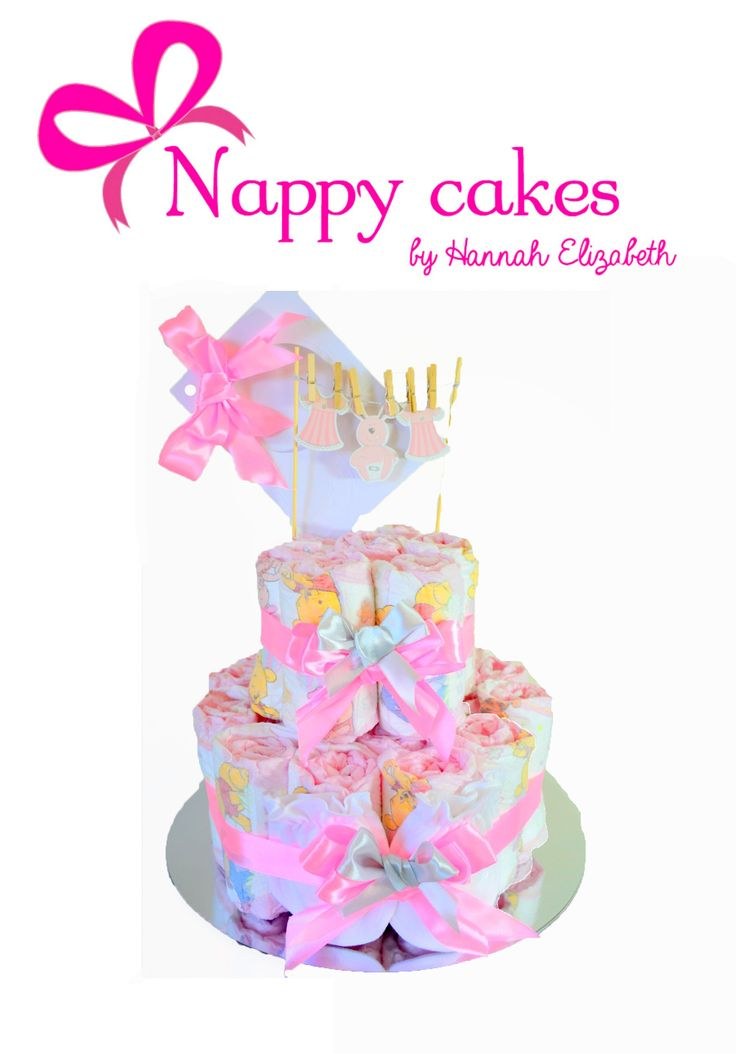NEW Girls 2 Tier Nappy cake - Simple but sweet Baby gift - Jennifer Lane Nappy cake.  This creative Baby gift Nappy cake is the essentials, with a sweet creative look complete with a little clothes line display on top of the Nappy cake. So simple yet sweet for any little girl coming or already here. http://www.nappycakesbyhannahelizabeth.com/apps/webstore/products/show/5220100