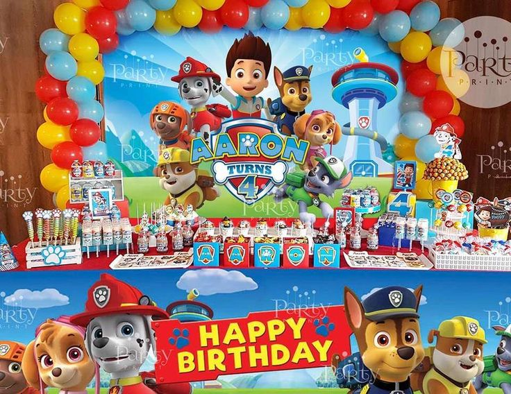 Check out this awesome Paw Patrol  PAW-ty! The backdrop and balloons are amazing!! See more party ideas and share yours at CatchMyParty.com #pawpatrol #boybirthday