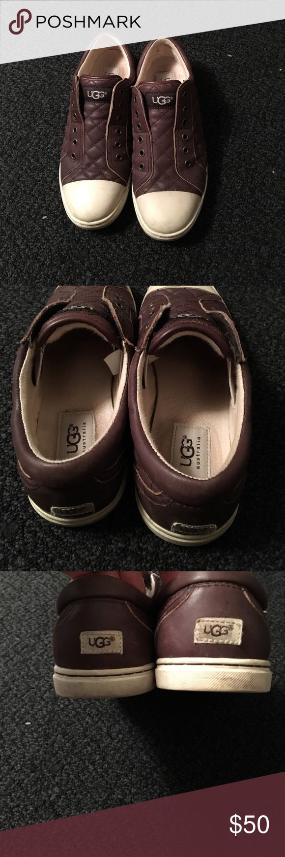 Ugh Sneakers Chocolate brown slip on ugh leather sneakers tongue lined with lamb shearling women's size 7 Shoes Sneakers