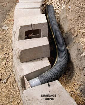 Water-soaked soil is the worst enemy of retaining walls because it exerts enormous pressure behind the wall. Adding good drainage behind block or stone walls is crucial for long-lasting, bulge-free walls. Start by laying perforated plastic drainage tubing along the base of the wall slightly above ground level so it can drain to daylight. Slope the tubing about 1/4 in. per foot.