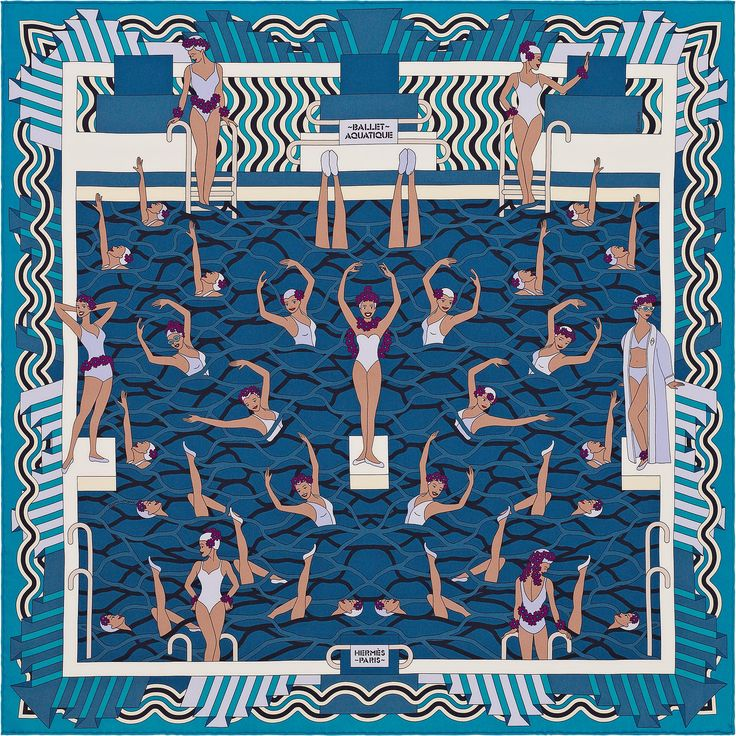 Scarf 70 Hermès | Ballet Aquatique bye Pierre Marie DESIGN HISTORY : The sirens of legend were women whose melodious singing bewitched mariners, drawing them down into the depths of the ocean. George Sidney's Le Bal des sirènes (Bathing beauty, 1944) – a love story between a ravishing girl swimmer and a musician – is a far cheerier tale. The film made its star, Esther Williams, famous. Backed by a troupe of sparkling fellow athletes, their acrobatic formations and choreographed swimming were