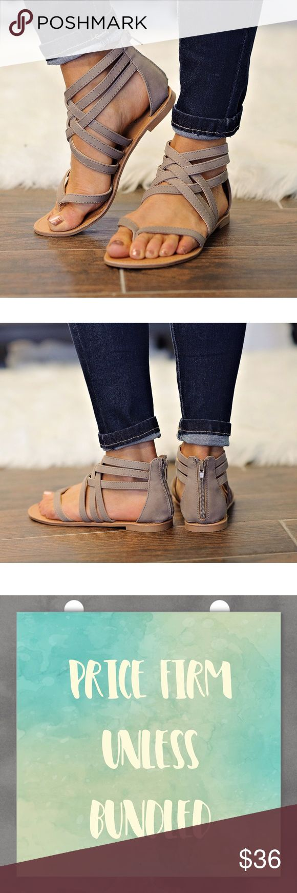 Taupe Strappy Sandals Taupe Strappy Sandals with zipper back closure. Trendy and comfy! Price firm unless bundled. No trades. Shoes Sandals