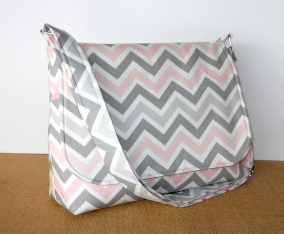 Chevron Purse, Fabric Messenger Bag - Grey and Pink Zig Zag