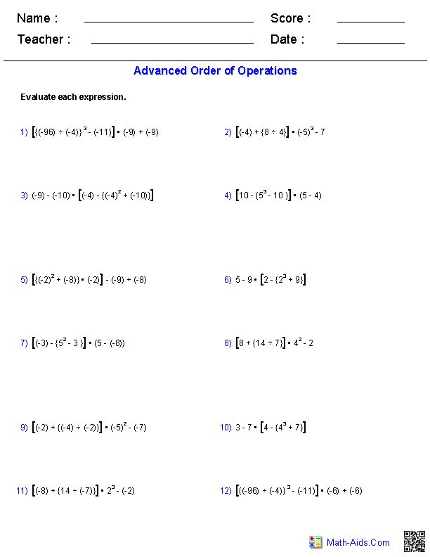 Advanced Order of Operations Problems math Order of operations