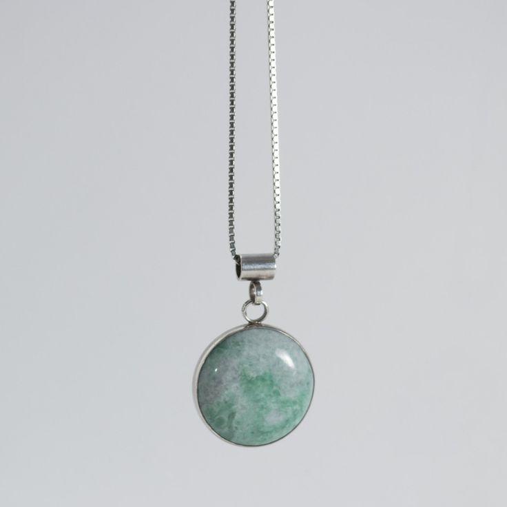 Silver and green stone necklace by Cecilia Johansson