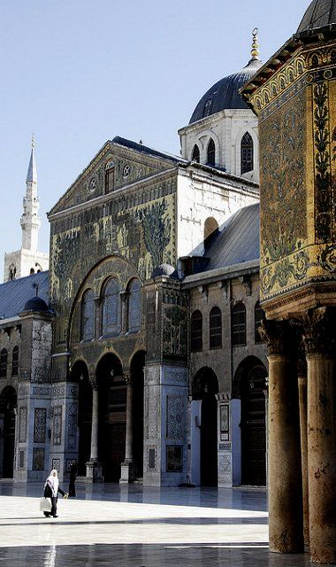 Umayyad Mosque, one of the oldest mosques in the world in Damascus, Syria. Inside a tomb is supposed to contain St. Jean Baptiste's head (by carmitage)