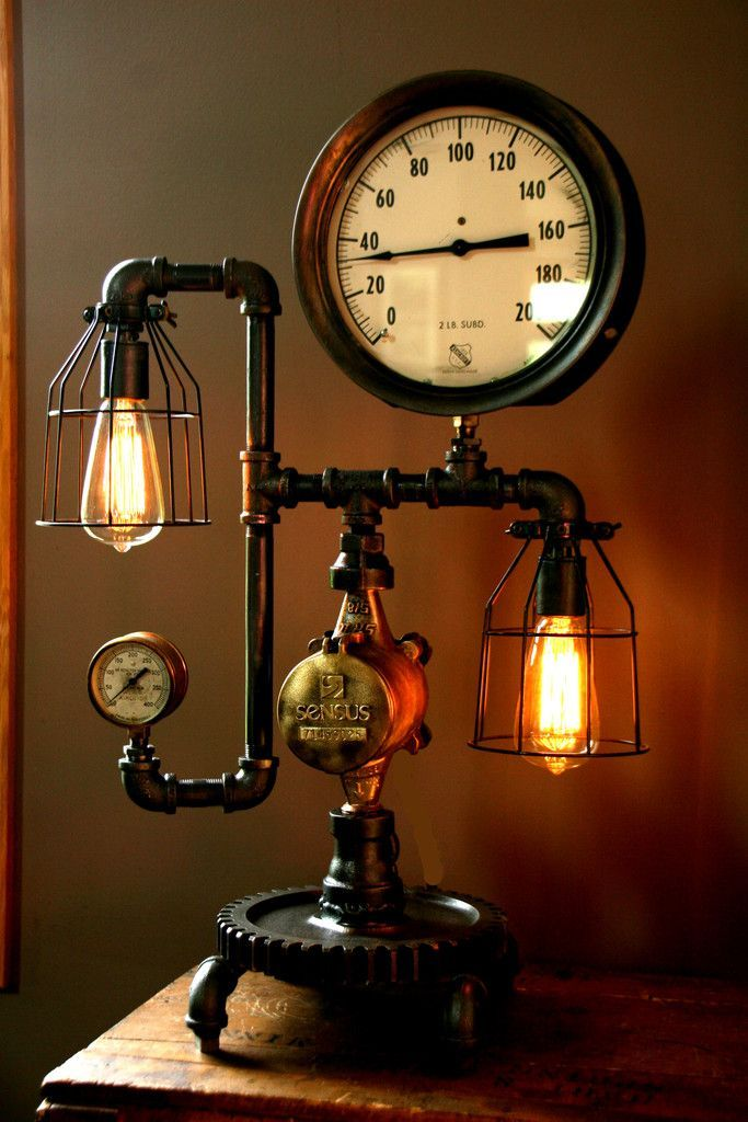 Machine Age Steam Gauge Lamp, Handmade Steampunk lamps made from antique salvaged steam gauges and machine age parts. #Lighting #IndustrialStyle #LightBulb #Design