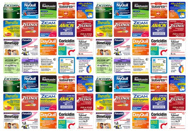 Many common over-the-counter drugs, like the ones above, contain acetaminophen. (Photo: ProPublica)