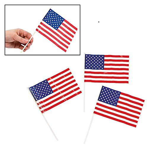 """Patriotic Plastic American 6"""" x 4"""" Flags (72 Pack) 4th of July Independance Day"""