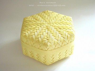 エコクラフト:網代編みの箱:菊華