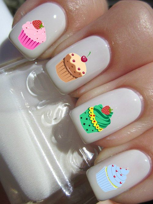 Cup Cake Nail Decals by PineGalaxy on Etsy, $4.50