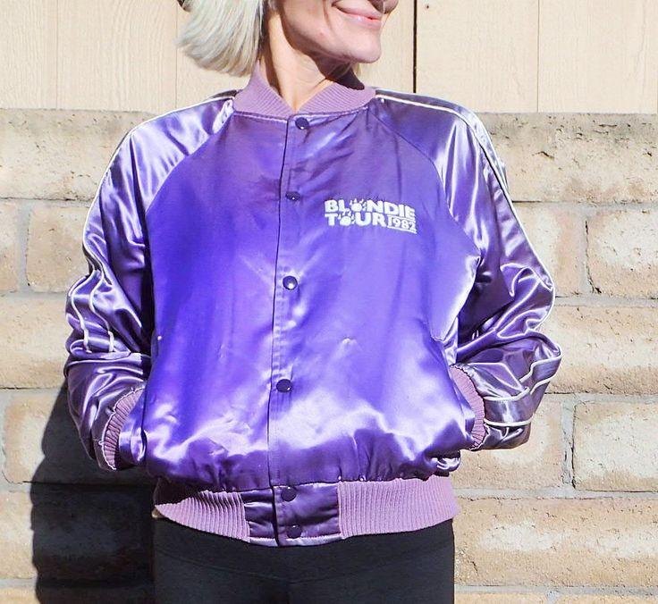 80's BLONDIE Music Memorabilia Tour Jacket - 1982 - Satin Purple Shiny White Embroidery - Cats Pyjamas - Venice, California - Size Medium by DOINGITSOBER on Etsy