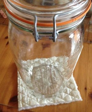I use Le Parfait jars & Fido jars when I do lacto-fermentaion. And I sewed covers for them.