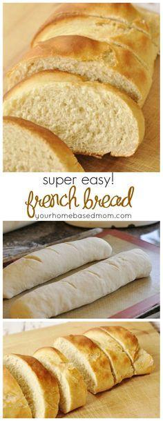 """Easy French Bread (Tiene clara de huevo pero sólo para """"pintar"""" el pan, así que se puede eliminar)"""