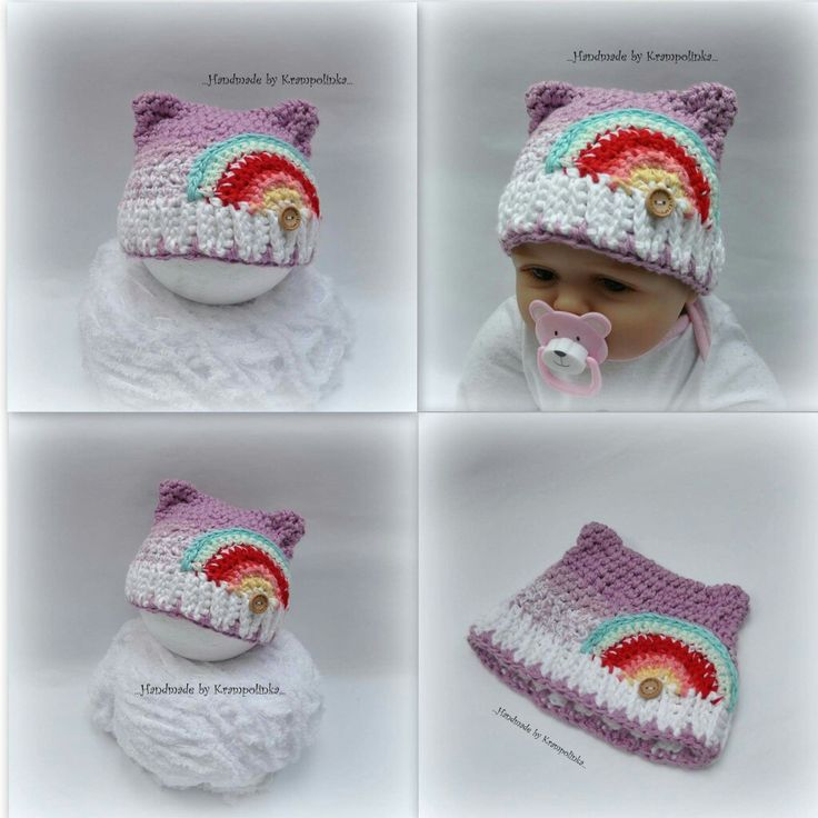 Rainbow crochet cat newborn hat